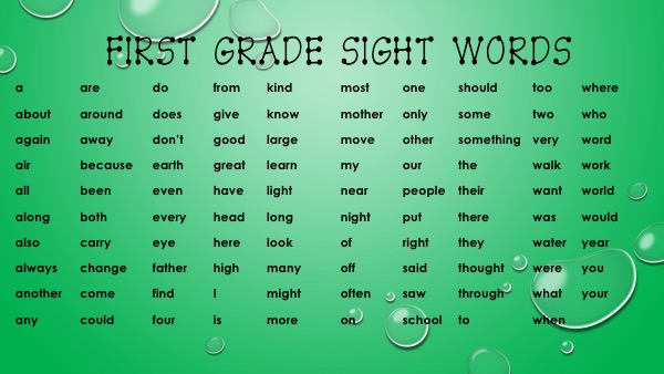 2nd grade sight words