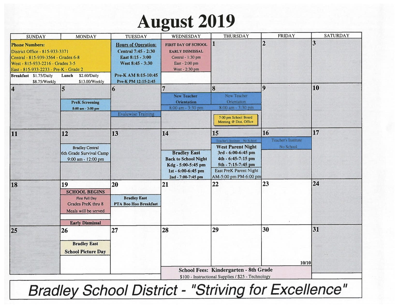 Finalized Calendar for 2019-2020