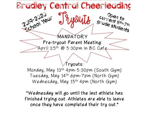 Cheer Tryouts at Bradley Central